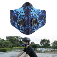 Newest PM2 5 Sports Cycling Breathable Carbon Filters Dust Smog Protective Half Face Neoprene Mask Blue