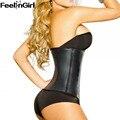 FeelinGirl Moda Completo de Látex Cintura Trainer-E Entrenamiento de Látex completa de Acero del Hueso Corsés Cinturón Faja de Cintura