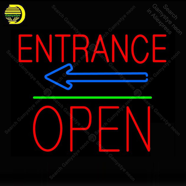 Neon Sign for Entrance Block Open Neon Tube sign glass handcraft Decor wall game Room Naon Sign light lamp Letrero Trade mark