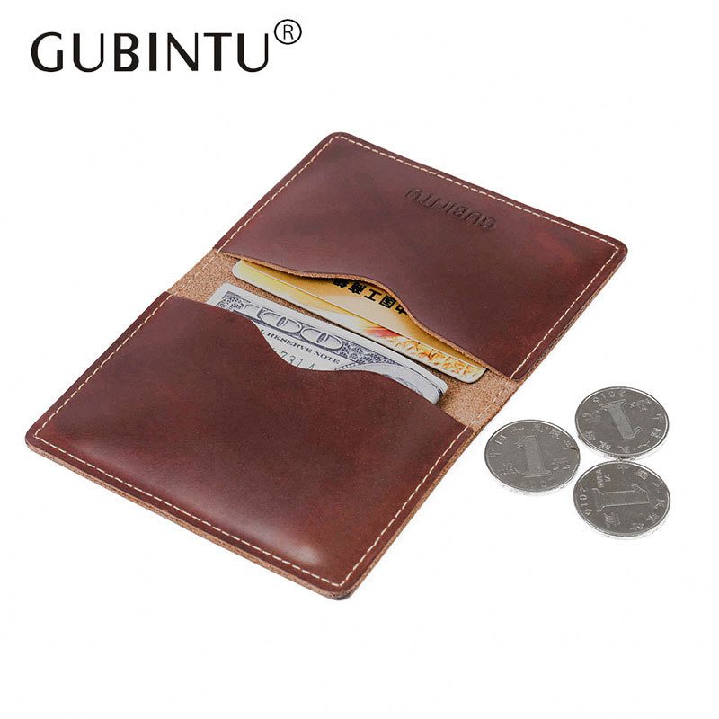 GUBINTU Brand Vintage Genuine Cowhide Leather Wallet Men Purse Crazy Horse Walet Top Quality Leather Wallets Card Holder new fashion gubintu removeable pocket men vintage wallets cow genuine leather wallet brand purse card holder coin purse jan 19