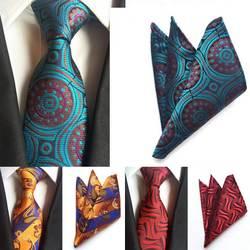 SKng Новый Для мужчин s галстук темно-Галстук Пейсли носовой платок наборы Для Мужчин's Jacquare Woven 100% шелковые галстуки комплект Для Мужчин's
