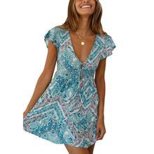 Women Ladies Summer Beach Boho Deep V-Neck Button Short Sleeve Floral Wrap Skater Mini Dress