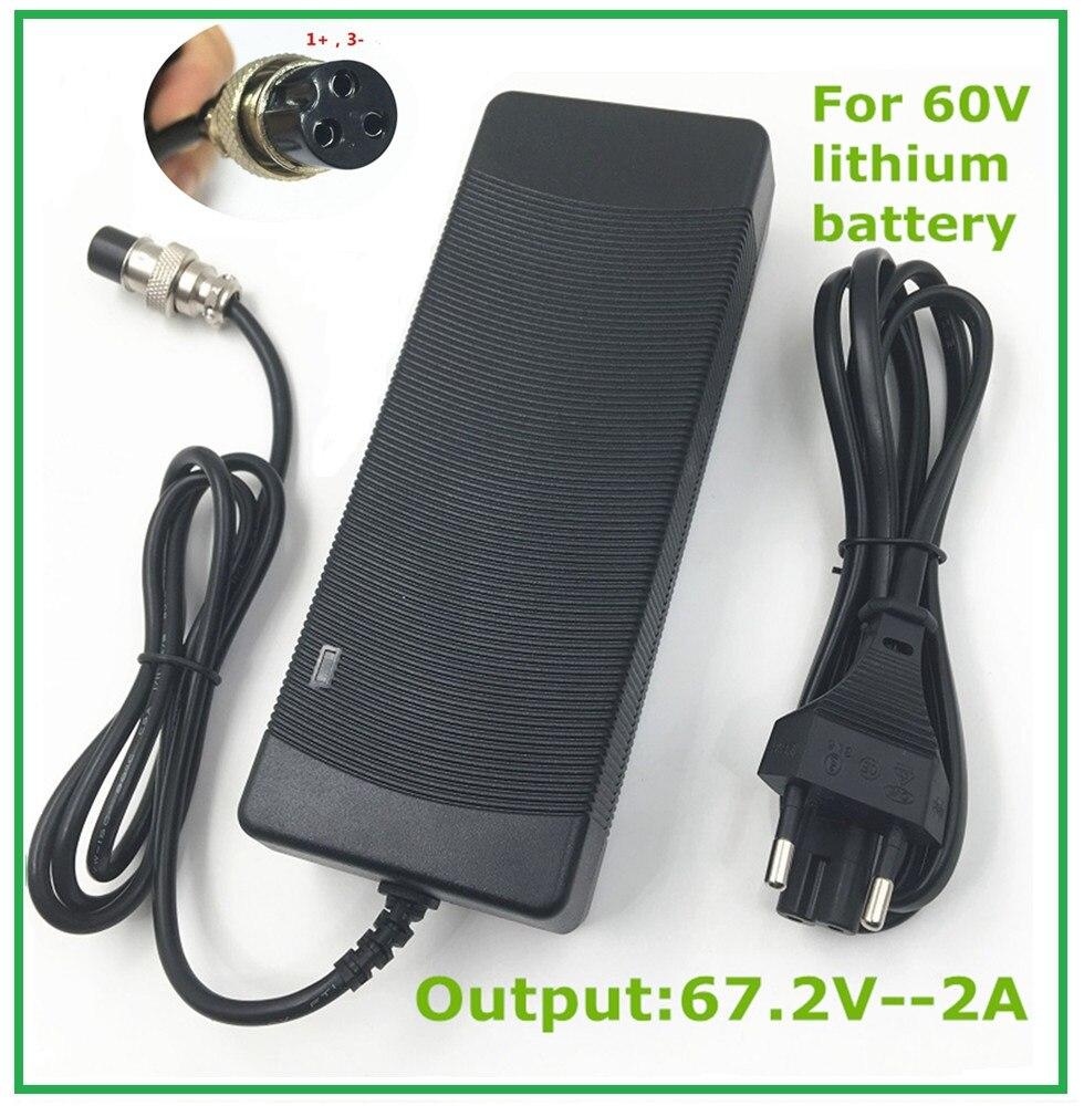 67.2V2A 67.2 V 2A li-ion batterie chargeur pour Brouette Électrique auto équilibrage monocycle scooter XLRF XLR 3 chargeur Freeshipp
