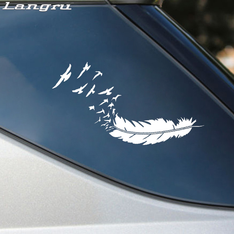 Langru Fashion Feather With Birds Vinyl Decoration Car Sticker Decals Graphical Jdm(China)