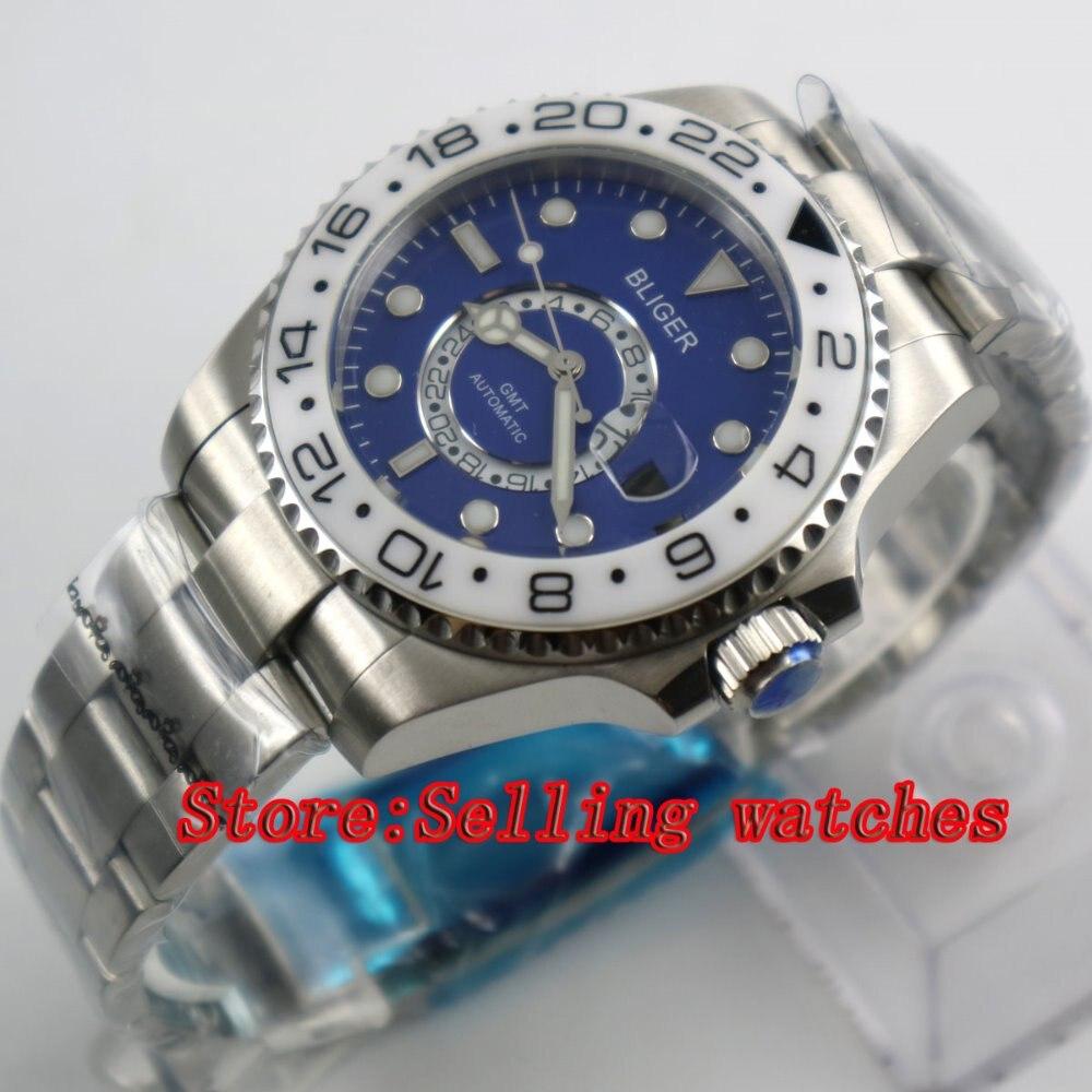 43mm Bliger Stainless Steel Case blue Dial white Ceramic Bezel Luminous Mechanical Mens Wristwatch