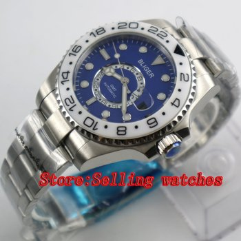 43mm Bliger Stainless Steel Case blue Dial white Ceramic Bezel Luminous Mechanical Mens Wristwatch