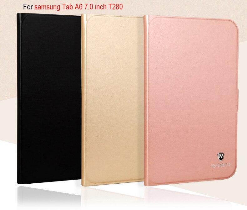 De luxe Smart Case Pour Samsung Galaxy Tab UN A6 7.0 SM-T280 T285 7.0 pouce Tablet Silicone pu Housse En Cuir funda + film + stylo