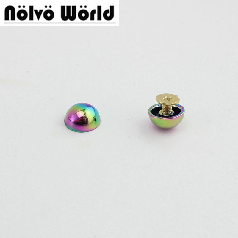 50pcs/lot 11mm Rainbow round head metal stud DIY bag bottom rivets with screw fitting studs
