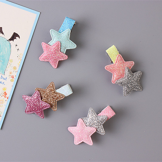1 PCS Korean Cute Flash Five-Pointed Star Baby Headdress Girls Hairpins Cartoon Hair Clips Kids Headwear Children Accessories 2 pcs 2017 new korean striped bowknot cute baby clip girls hairpins cartoon kitten hair clips kids children accessories