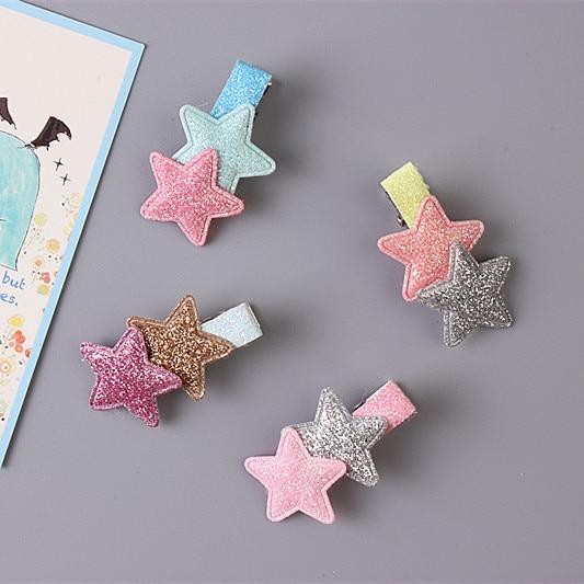 1 PCS Korean Cute Flash Five-Pointed Star Baby Headdress Girls Hairpins Cartoon Hair Clips Kids Headwear Children Accessories