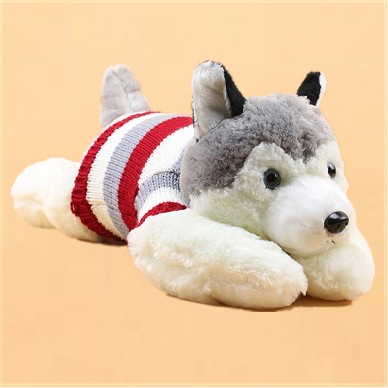 Cute Husky Dog Plush Red Stripe Sweater Coat Puppy Dog Toys