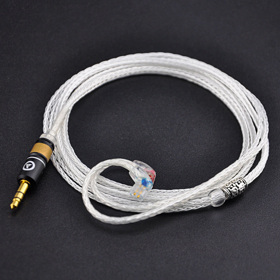 Wooeasy Custom Made 2.5/3.5mm 7N Silver Plated Cable 16 Core Detach Cable For QDC Custom Earphone Cable Pure Silver Cable