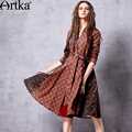 Artka Women's Spring New Ethnic Printed Patchwork Dress Vintage Stand Collar Long Sleeve Wide Hem Dress With Sashes LA10563Q