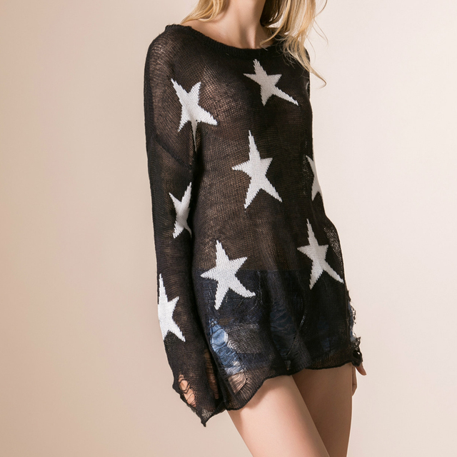 3b33bbbce0 Female Long Sleeve Lovely Printed Stars Pullovers Loose Black ripped  sweater Hole Autumn Hipster cute thin sweaters Outwear Tops