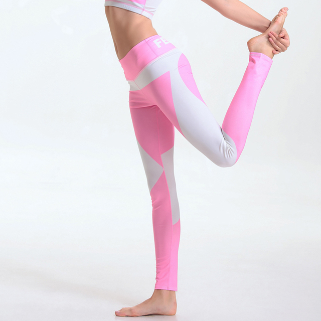 Light Color Patchwork Sexy Women Leggings Workout Plus Size Pink And White Splicing Super Elastic Fitness Pants ropa mujer