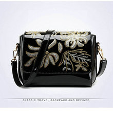 Patent leather shinning sequined  flower women handbag cross body cover shoulder bags with zipper pocket