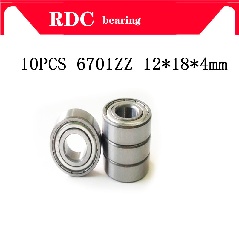 Free Shipping 10pcs ABEC-5 6701ZZ High Quality 6701z 6701 ZZ 12x18x4 Mm Metal Seal Thin Wall Section Deep Groove Ball Bearings