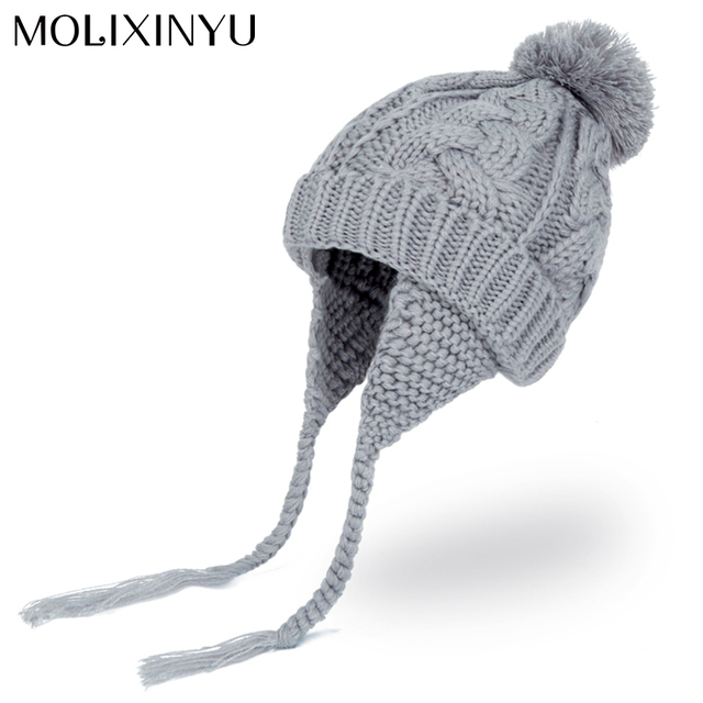 d978803869d MOLIXINYU Baby Pom pom Winter Hat For Boys Girls Ball Hat Kids Warm Knitted Hat  Newborn