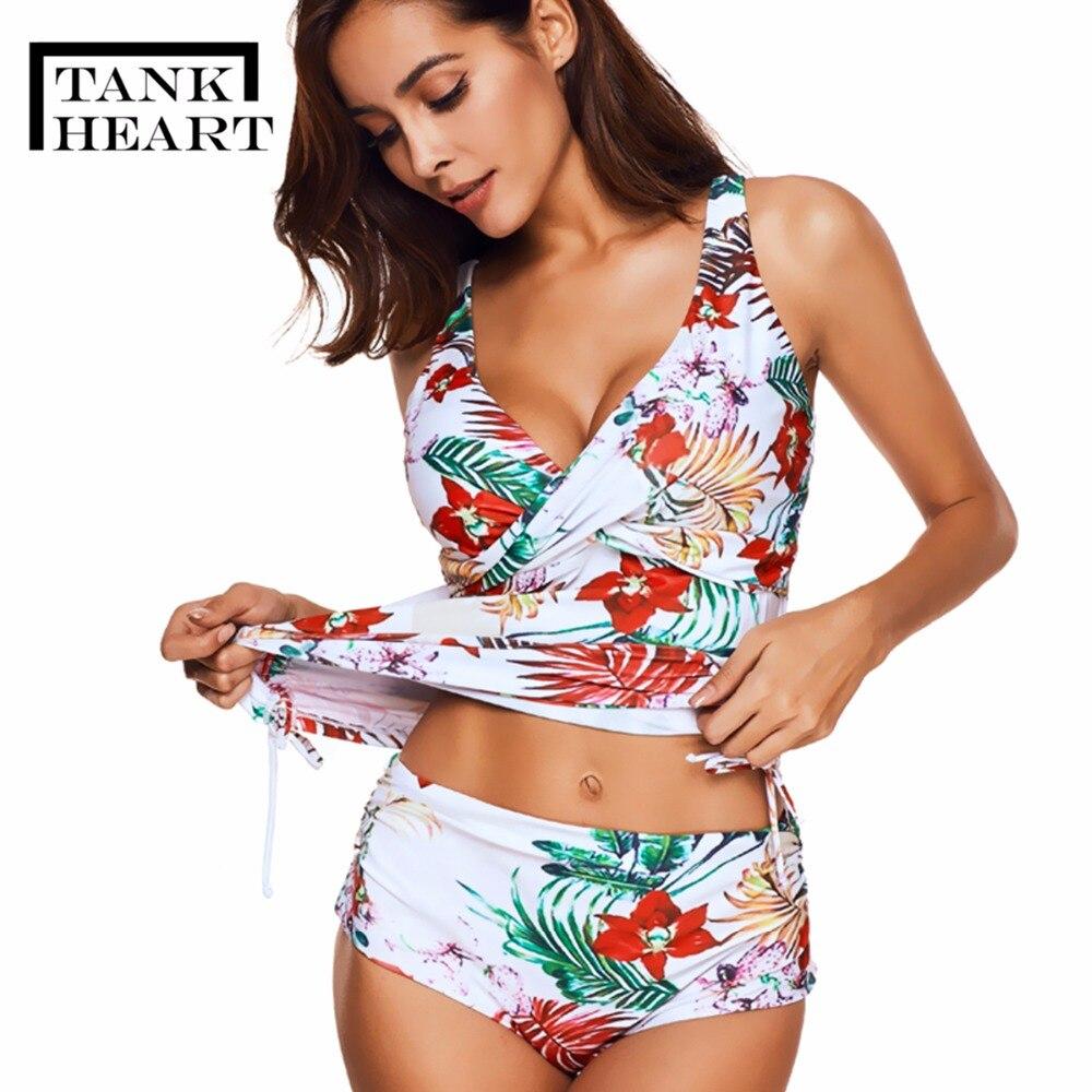 Tank Heart Floral Plus Size Swimwear Women Push Up Bikini Set Tankini Set Two Piece Swimsuit For Girl Badpak Bathing Suit XXXL