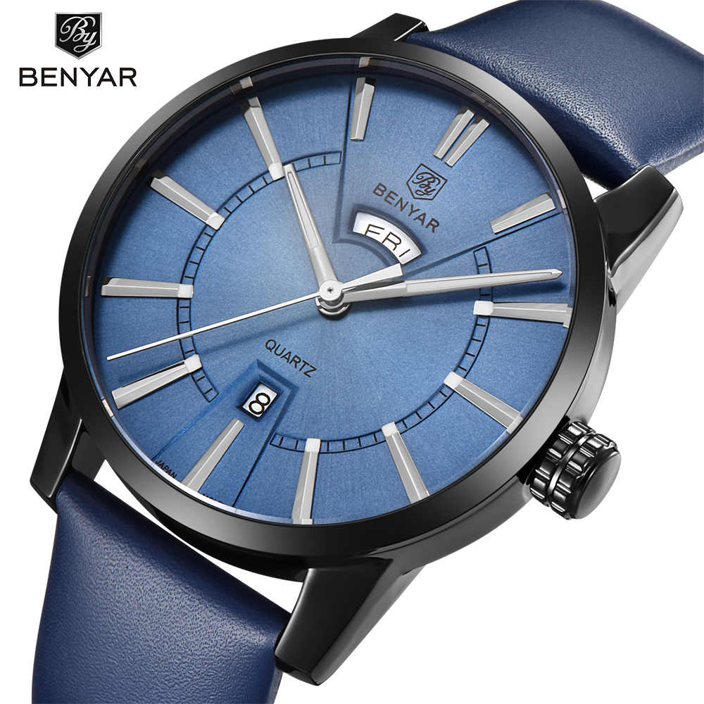 BENYAR Fashion Casual Men Watches Top Brand Double Calendar Quartz Watch Business Male Gift Clock Relogio Masculino Montre Homme