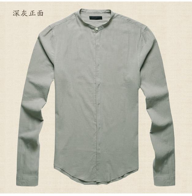 Moda dos homens de Linho de Algodão Misturado Camisa Mandarim Collar Comfy Estilo Chinês Slim fit Manga Comprida sólidos Camisas Casuais Homens marca