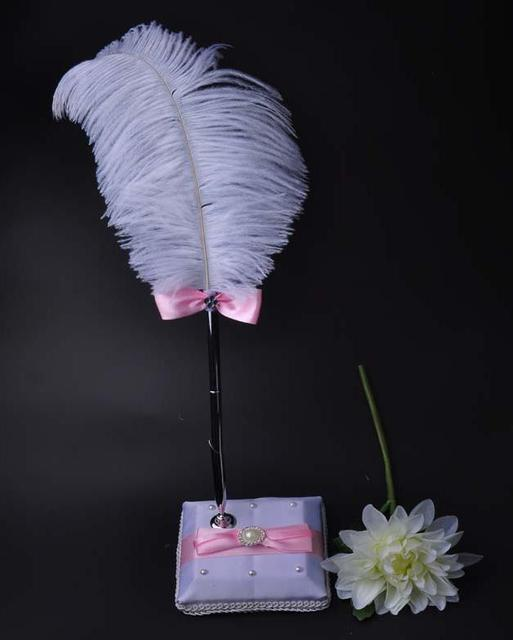 Hen Night Party Decoration Reception Signature Guest Wedding Pen Set With Holder White Feather Signing Pens
