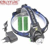 T6 Headlight CREE XM L T6 Zoomable LED 2000 Lumens Headlight LED Headlamp CREE 2x18650 6000mah