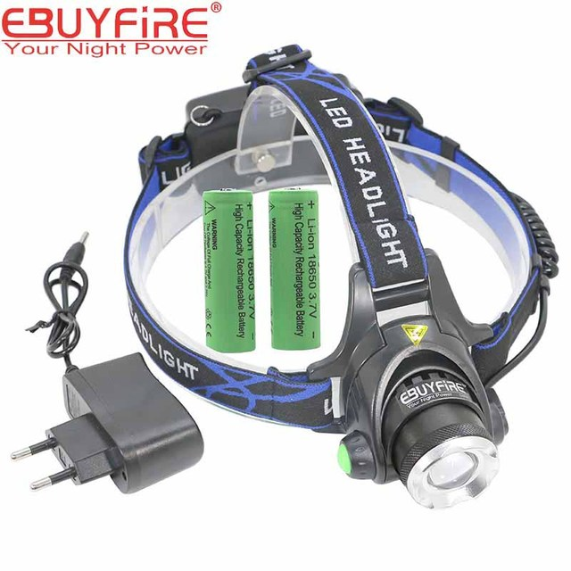 18650 Headlight Led Headlamp XM-L T6 Zoom Rechargeable light Waterproof  2000LM Head Lamp Light +2x 3.7v 18650 Battery + Charger
