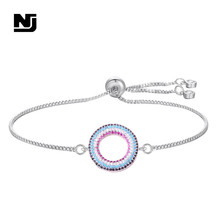 NJ Shiny Geometric Round Charm Bracelets for Women Colorful Silver Gold Chain High Quality Copper Adjustable Bracelet Jewelry
