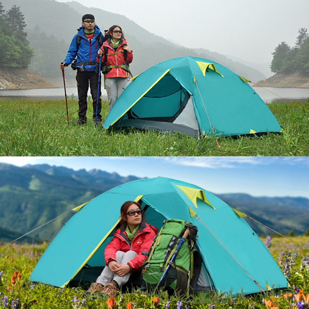 New Two Person Tent Double Wall Extent Outdoor Hiking Backpacking Camping high quality outdoor 2 person camping tent double layer aluminum rod ultralight tent with snow skirt oneroad windsnow 2 plus