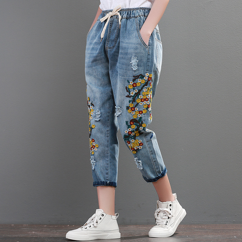 Calf-length Pants Harem Pants With Flower Embroidery Elastic Waist Retro Vintage Jeans For Woman Female Pants A0B2Z40