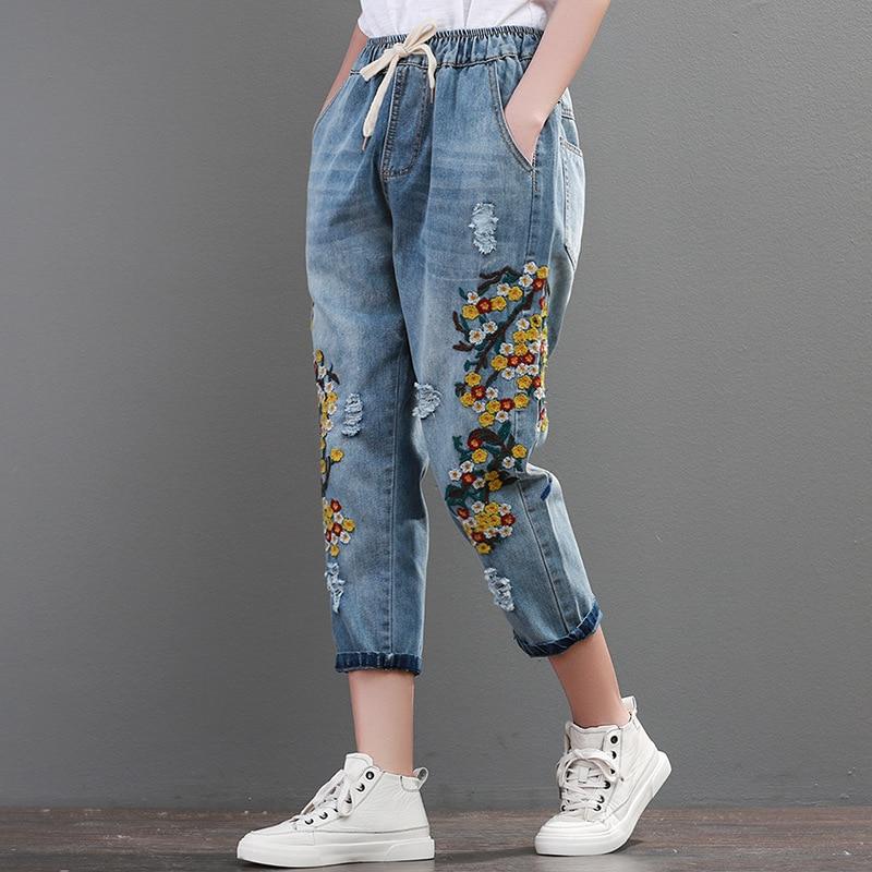 Calf-length Pants Harem Pants With Flower Embroidery Elastic Waist Retro Vintage Jeans For Woman Female Pants A0B2Z40