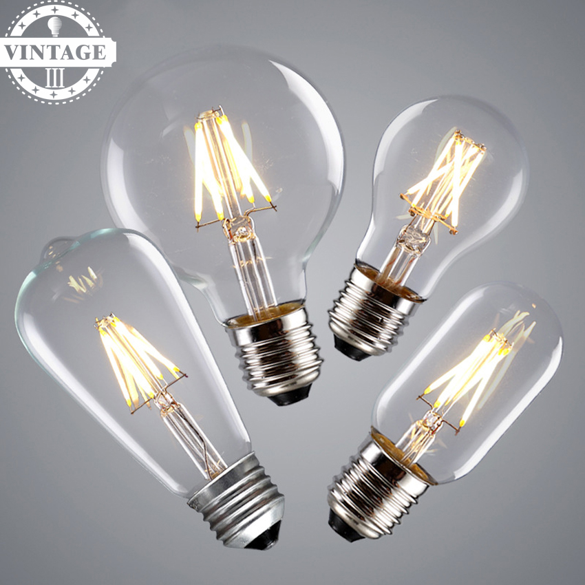 A19 Led Filament Bulb Nostalgic Edison Style 4w To Replace: LightInBox Dimmable,C35 A19 ST58 ST64 G95 T45 4w 6w 8wE26