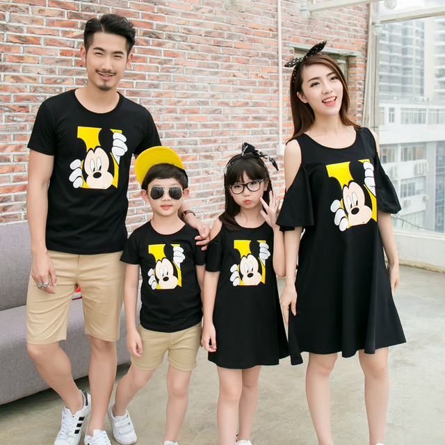 008f6f7cd9 Fashion Family Matching Outfit Off Shoulder Mother Daughter Dresses Father  Son T shirt Clothes Family Set Cartoon Clothing CP32