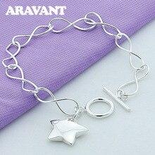 hot deal buy new arrival 925 silver jewelry bracelet stars pendant bracelets for women fashion silver jewelry
