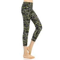 Women Sports Yoga Pants Leggings Printed Push Up High Waist Elastic Gym Fitness Work Out Cropped
