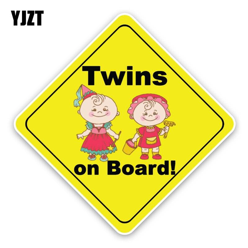 Yjzt 14.5*14.5 см интересные Твинс автомобиля Стикеры игрушка Фея ребенок на борту Детская безопасность знак для c1-5613
