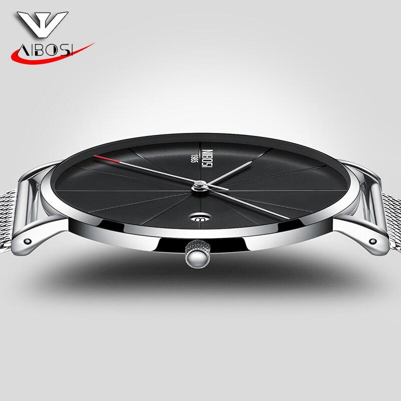 Reloj de pulsera Nibosi para hombre reloj de pulsera de acero inoxidable ultrafino para hombre reloj de pulsera de cuarzo para hombre relojes deportivos militares para mujer