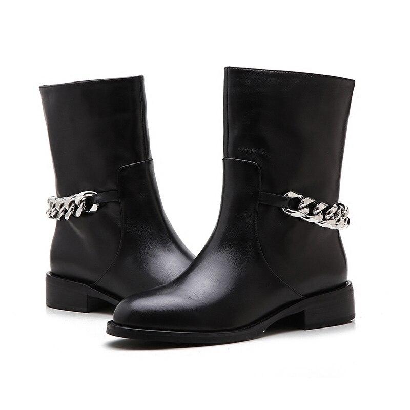 De Haute Femmes Chaîne Véritable En Mode Femme Noir Plat Genou Black Ankle black Dos Leather Bout Long Cuir Cheville Chevalier Bottes D'hiver Rond WInSnqv6F