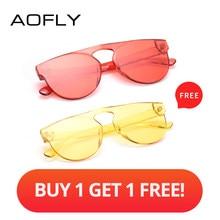 cdb83f8b0 AOFLY Comprar 1 Obter 1 Livre Mulheres Óculos De Design Da Marca Cor  Transparente Pacote de Viagem Óculos De Sol Feminino Oval Q..