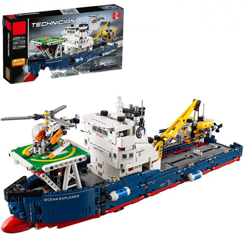 City Rescue the Searching Ship Set Compatible Legoinglys Technic Building Blocks Bricks Kids Toys Children 42064 4002pcs best large building blocks sets city street center rally square compatible legoinglys creator technic toys for children