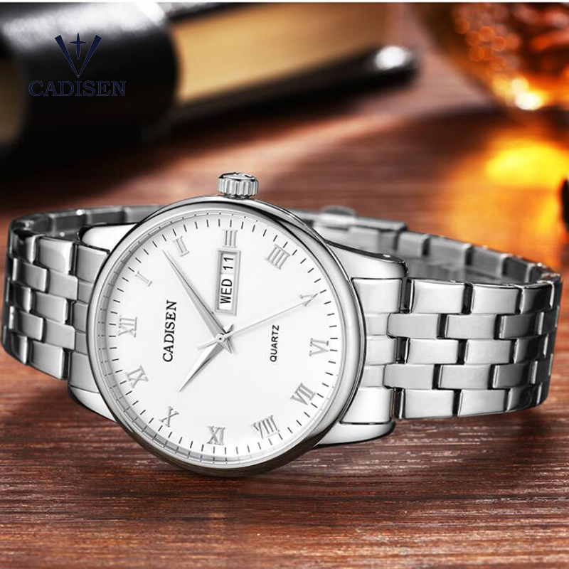 Cadisen Top Brand 2018 Mens Watches Luxury Business Stainless Steel Quartz Watch Men Classic Waterproof Clock relogio masculino migeer relogio masculino luxury business wrist watches men top brand roman numerals stainless steel quartz watch mens clock zer