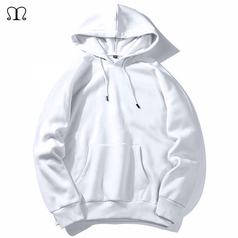Warm Fleece Hoodies Men Sweatshirts 2019 New Spring Autumn Solid White Color Hip Hop Streetwear Hoody Man's Clothing EU SZIE XXL