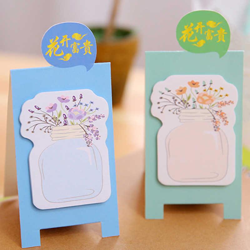 1 حزمة/وحدة لطيف الملونة زهرة زهرية Meaasge مذكرة ملصقا اقامة الدائمة لوحة لاصقة ملاحظات الطلاب مدرسة مكتب لوازم الأسرة