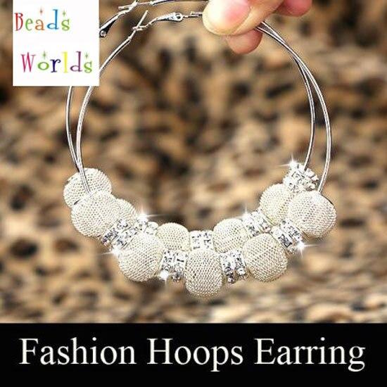 wholesale Silver Basketball Wives Mesh Ball Beads Hoop Earrings W/ Rhinestone Spacer Beads