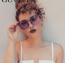 e224eea78045a Óculos sem aro óculos de sol das mulheres de grandes dimensões 2018 amarelo  grande frameless óculos de sol sexy famale moda senh.