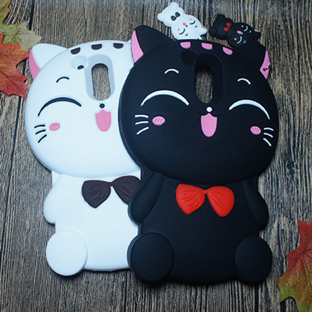 hot sales fd91d a278c US $4.44 11% OFF|Shockproof Cover For Motorola Moto G4 Plus Case 3D Cartoon  Fortune Lucky Pet Cat Kitty Bow Silicone Rubber Back CoverFor Moto G4-in ...