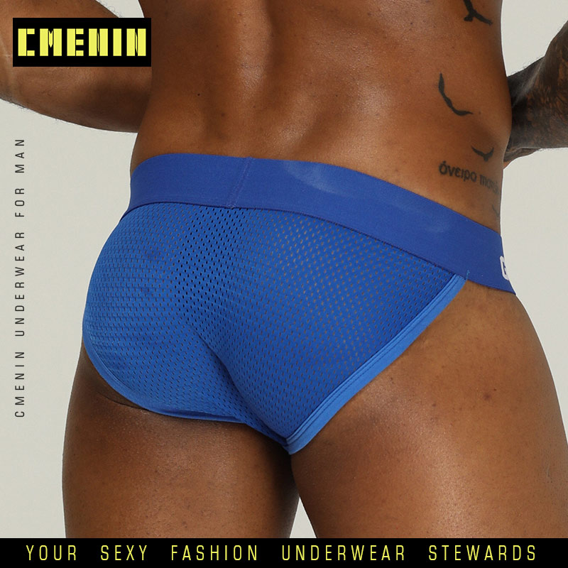 Briefs Men Mesh Jockstrap Underwear G-Strings & Thongs Sexy  Gay Penis Pouch Bikini Buttocks Hollow Thong Men Underwear OR208(China)