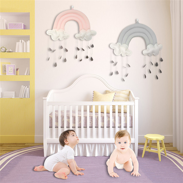 Cute Baby Crib Decor Toy Cotton Cloud Shape Kindergarten Nursery Room Wall Hanging For Kids