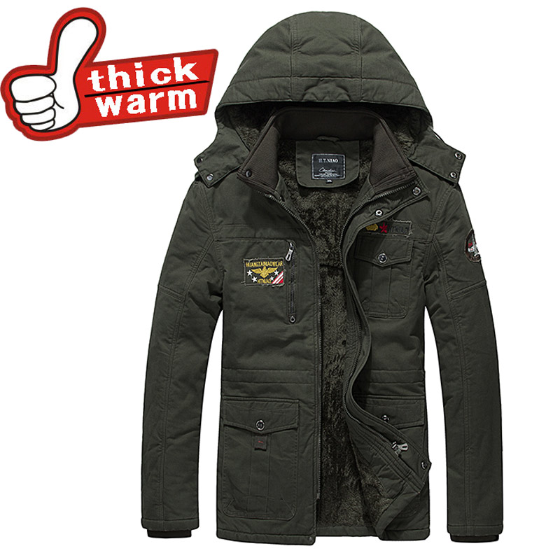 100%Cotton mens windbreaker coat Winter thick warm casual Hat Detachable Down Parkas jacket men style Solid Padded 4XL